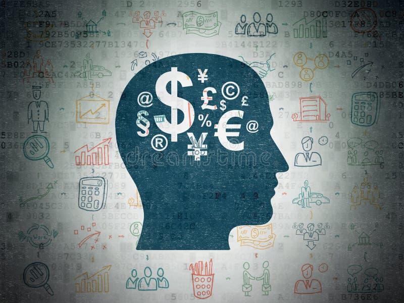 企业概念:有财务标志的头 皇族释放例证
