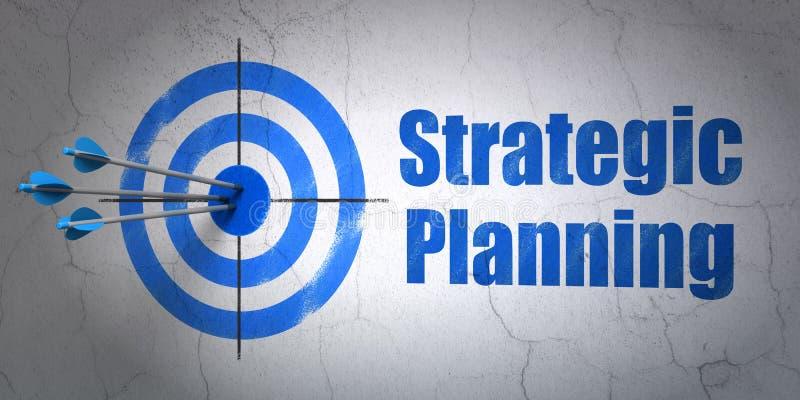 企业概念:目标和战略计划在墙壁背景 免版税图库摄影