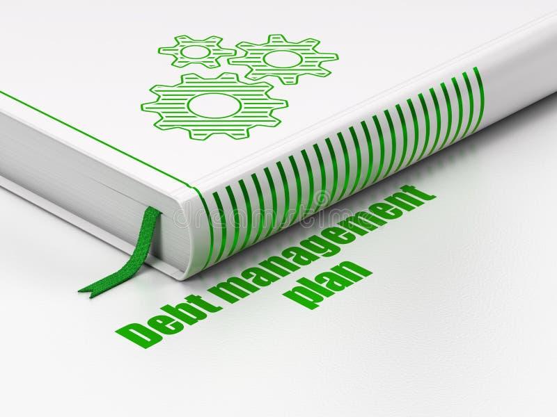 企业概念:预定齿轮,在白色背景的债务管理计划 库存例证
