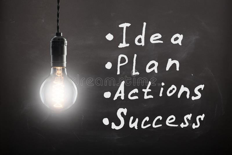 企业概念-与计划和图表的剪影在黑板 库存例证