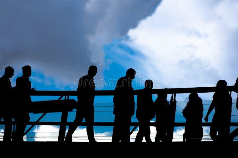 企业概念-人们在一个财政区 库存照片