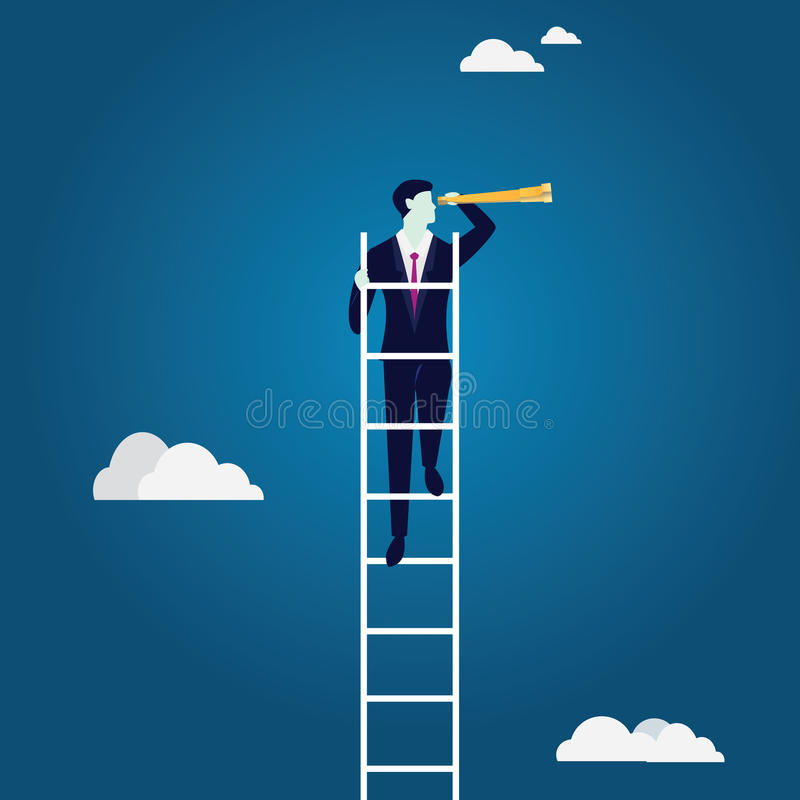 企业概念绘制图象聚焦检查镜扩大化的远见 看机会的上升的梯子 库存例证