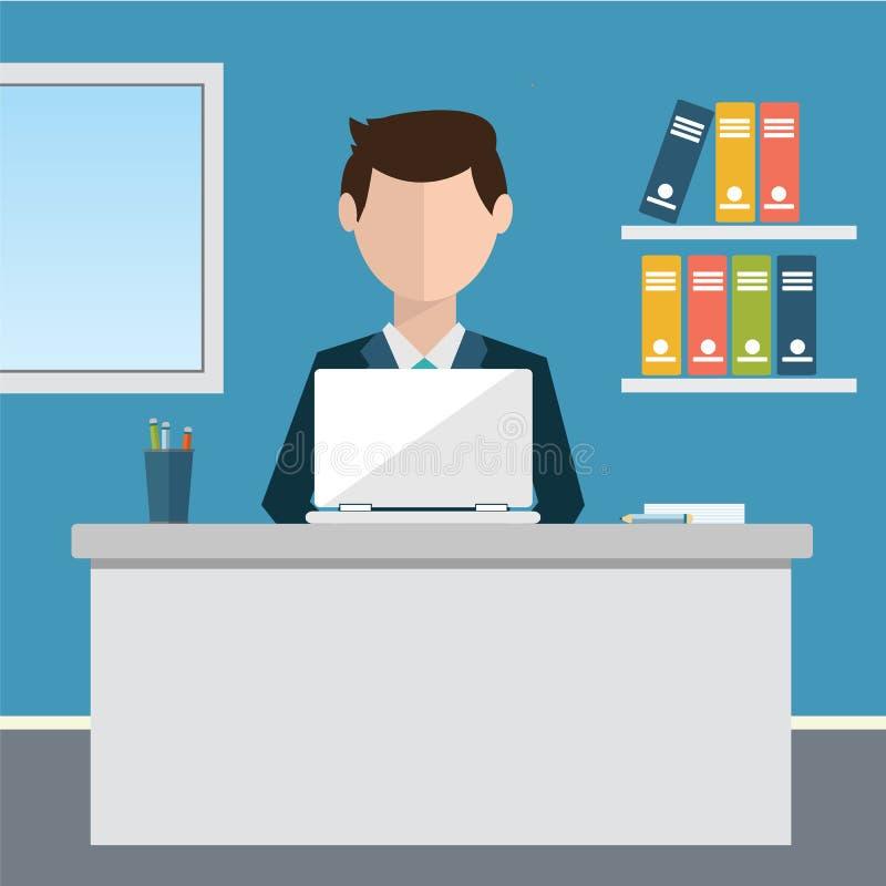 企业概念-坐在桌上和研究计算机的妇女在办公室 传染媒介例证,平的样式 向量例证