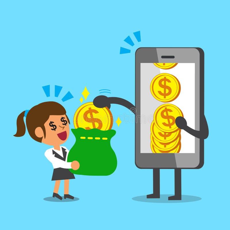 企业概念给金钱硬币的动画片智能手机女实业家 皇族释放例证