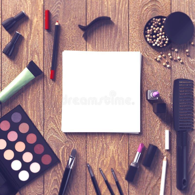 企业模板的嘲笑 化妆品 皇族释放例证
