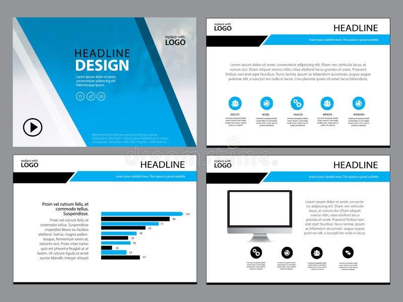 企业模板设计集合介绍和小册子年终报告,与infographic元素的飞行物页 库存例证