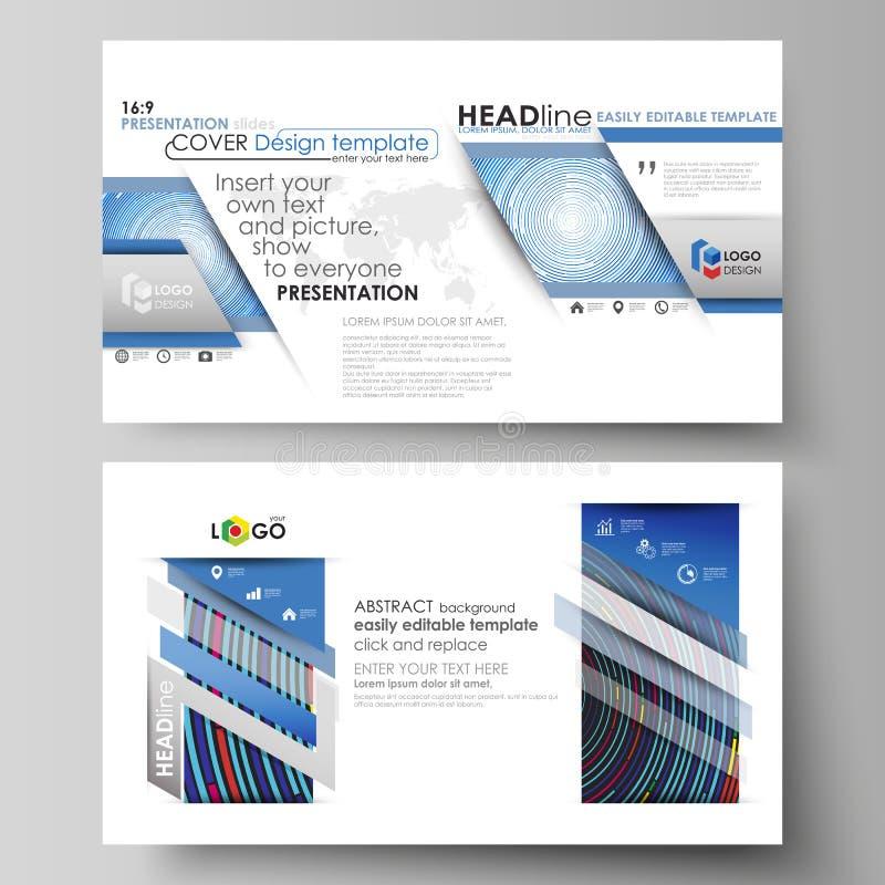 企业模板以介绍的HD格式滑 在平的设计的容易的编辑可能的抽象传染媒介布局 蓝色 库存例证