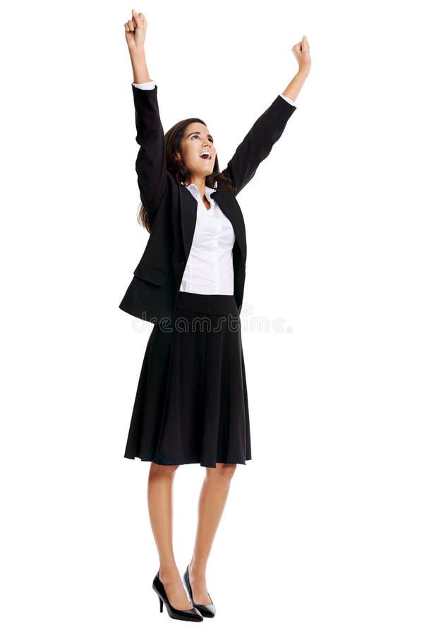 企业欢呼的妇女 库存照片