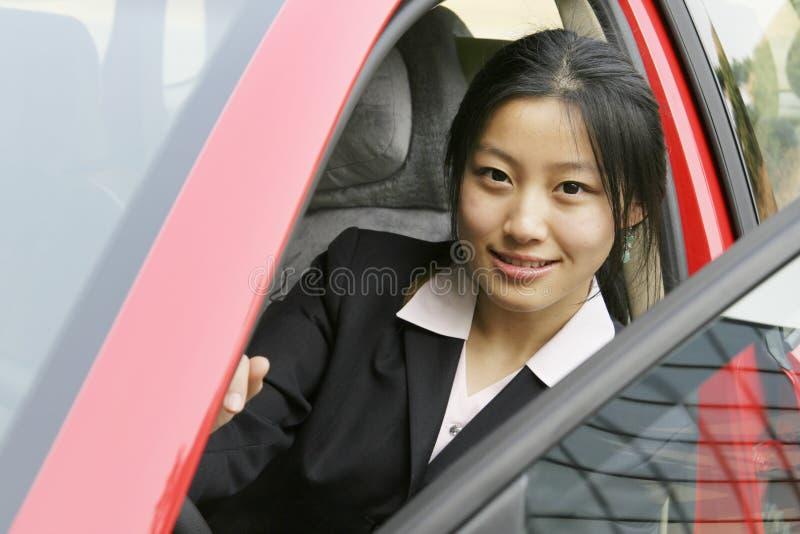 企业汽车她的妇女 图库摄影