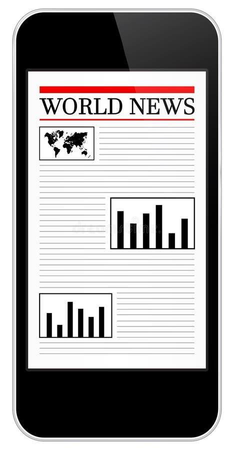 黑企业流动iPhone世界日报 向量例证