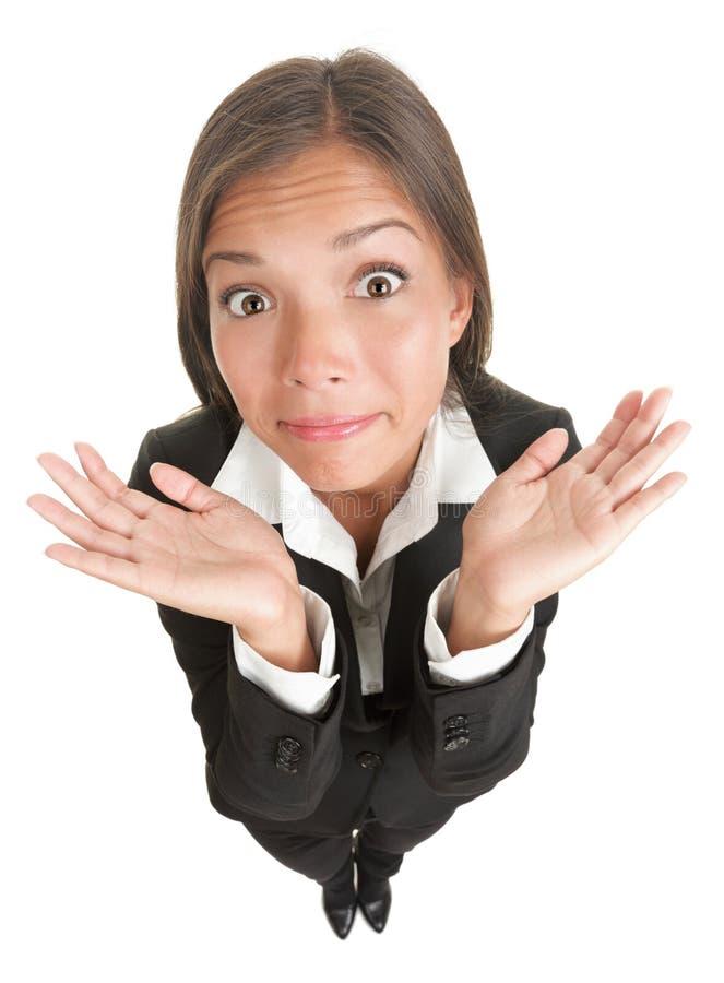 企业滑稽的查出的耸肩的妇女 免版税库存照片