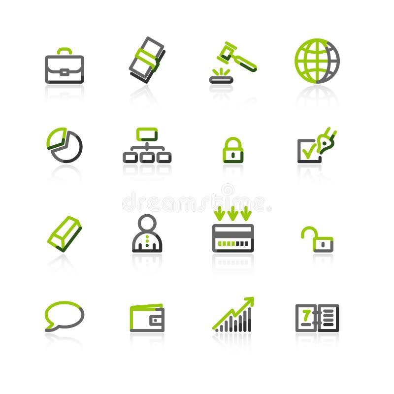 企业灰色绿色图标 库存例证
