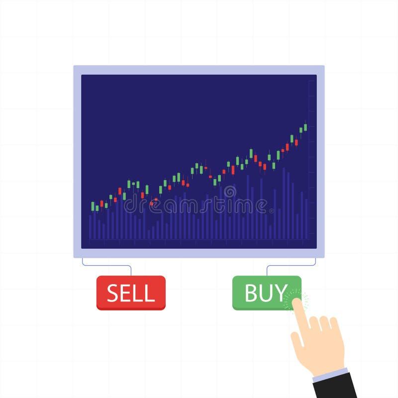 企业烛台图与买卖按钮 硬币舍去图形市场铅笔红色snd股票上升 向量例证