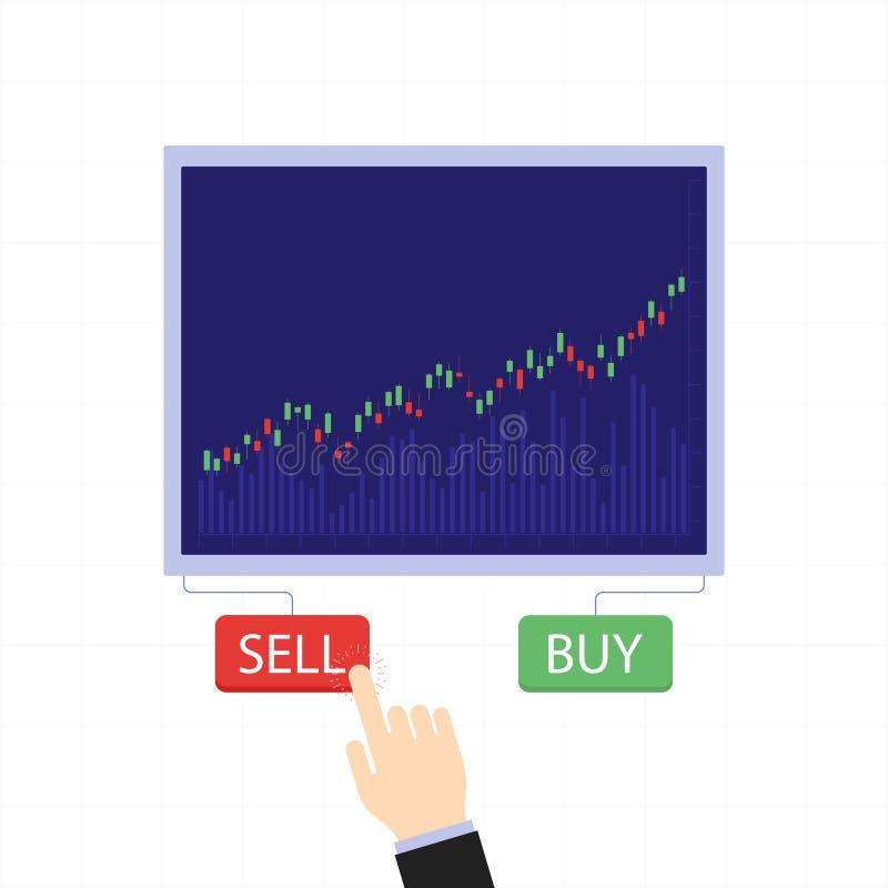 企业烛台图与买卖按钮 股市和商业交换传染媒介概念 库存例证