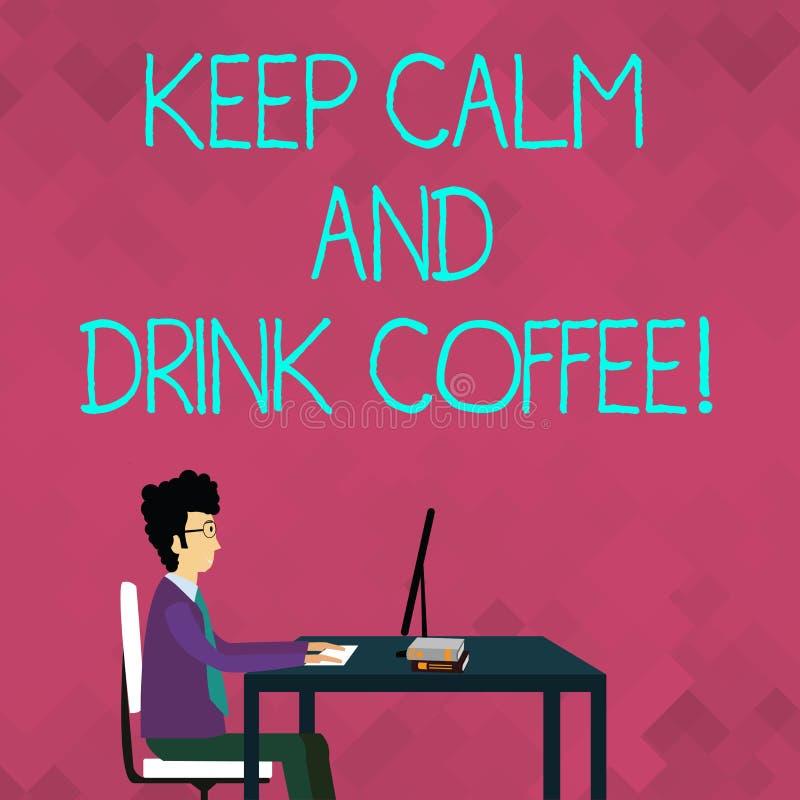 词文字文本保留安静和饮料咖啡 企业概念为鼓励展示享受咖啡因饮料和 库存例证