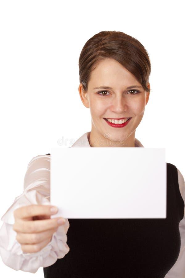 企业照相机看板卡暂挂微笑的妇女年&# 免版税图库摄影