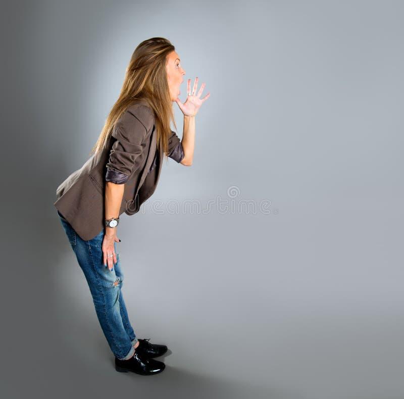 企业特写镜头愉快的纵向妇女年轻人 库存照片