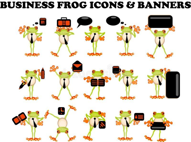企业生意人青蛙图标选址万维网 向量例证