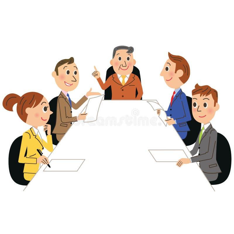 企业生意人cmputer服务台膝上型计算机会议微笑的联系与使用妇女 库存例证