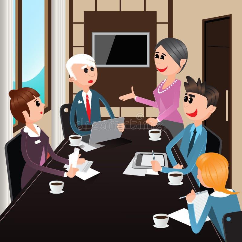 企业生意人cmputer服务台膝上型计算机会议微笑的联系与使用妇女 有膝上型计算机的,片剂办公室工作者 向量例证
