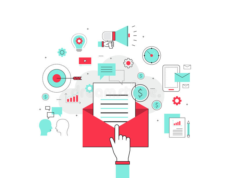 企业电子邮件营销概念 向量例证