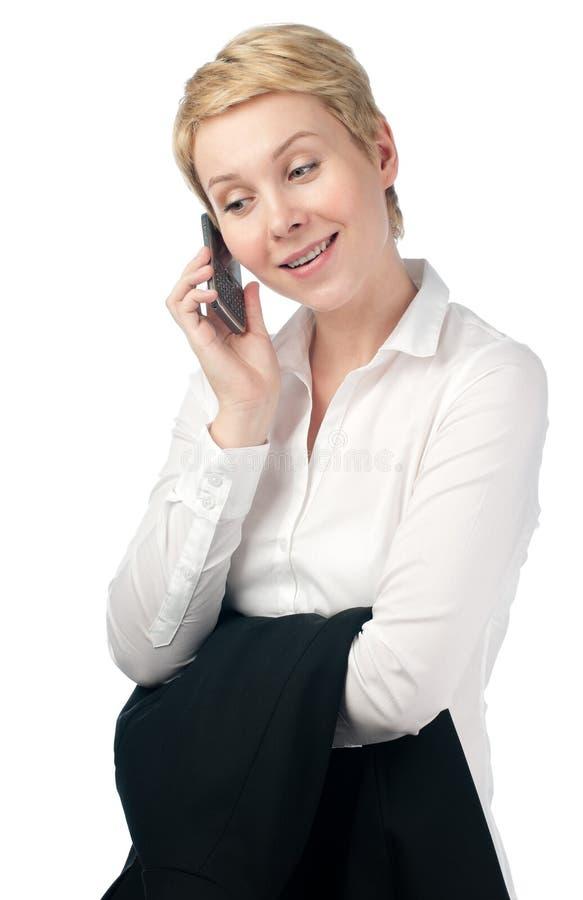 企业电话妇女年轻人 库存图片
