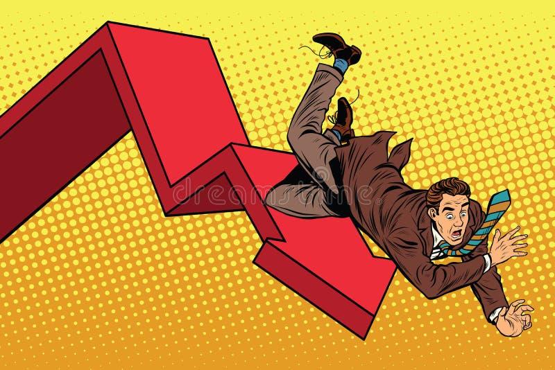 企业男性财政崩溃、秋天和废墟 库存例证