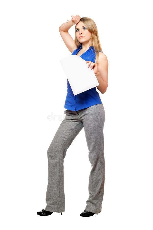 企业疲乏的妇女年轻人 免版税库存图片