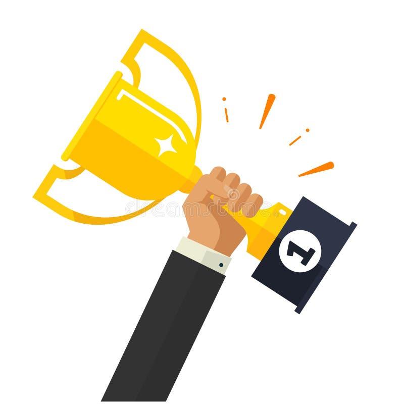 企业目标成就传染媒介,拿着奖杯的愉快的成功的商人在手中授予 皇族释放例证