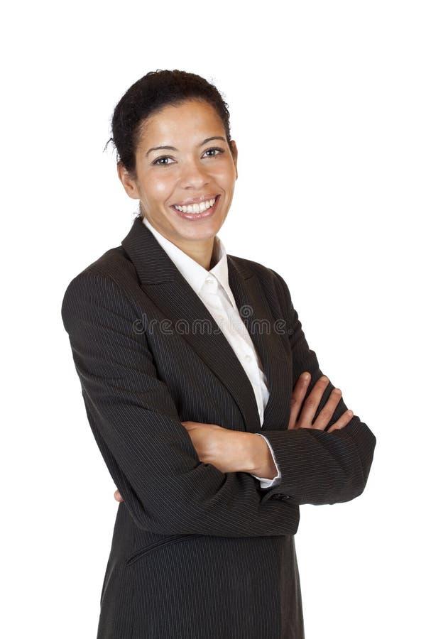 企业确信的愉快的自微笑妇女 免版税库存图片