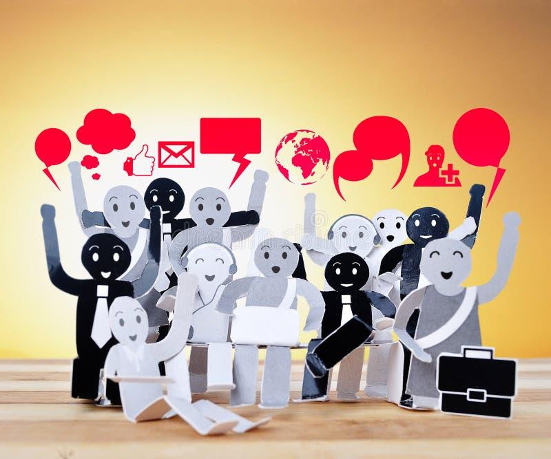 企业社交网络的标志的微笑的对象 库存图片