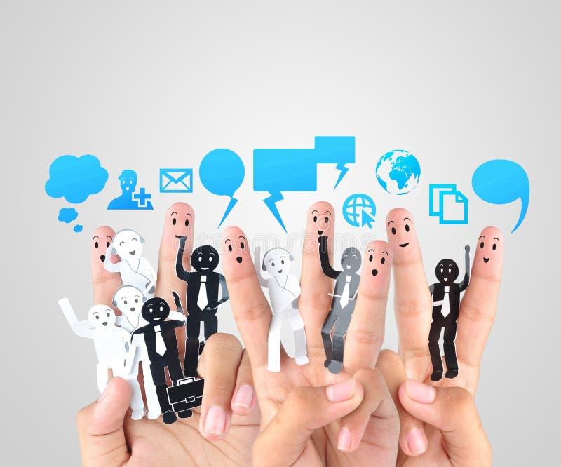 企业社交网络的标志的微笑的手指 图库摄影