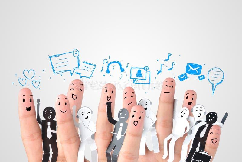 企业社交网络的标志的微笑的手指 免版税库存图片