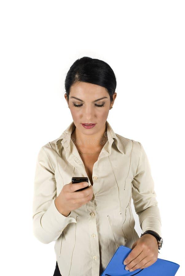 企业移动电话妇女 免版税库存照片