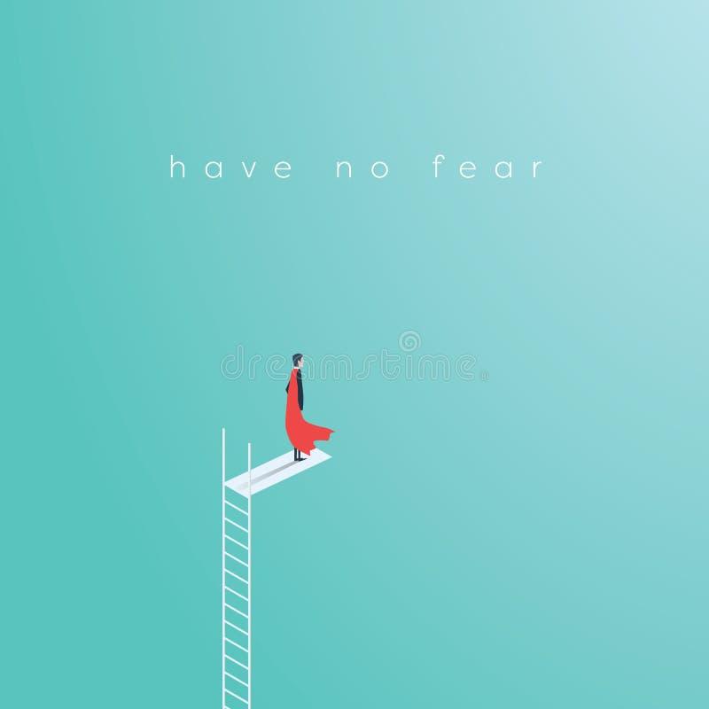 企业站立在高梯子跃迁的超级英雄商人 企业勇气,勇敢,无所畏惧,力量的标志 皇族释放例证