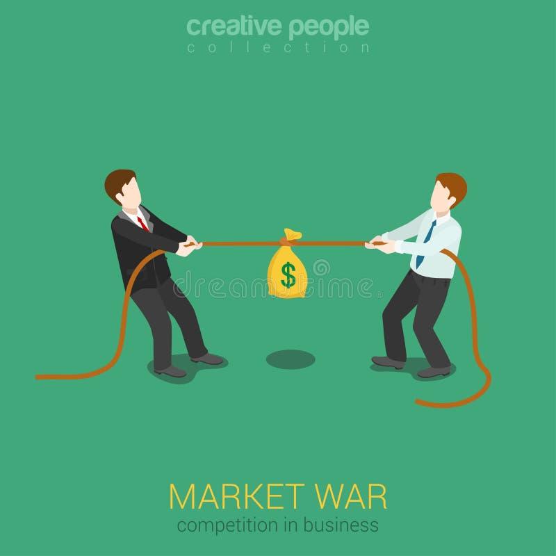 企业竞争营销战争平的3d网等量概念 向量例证