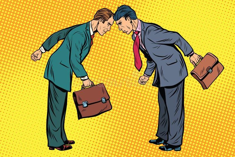 企业竞争,两在冲突的商人 向量例证
