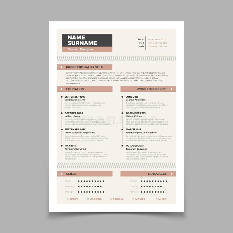 企业简历 Cv时髦的高雅模板 信件盖子传染媒介大模型 库存例证