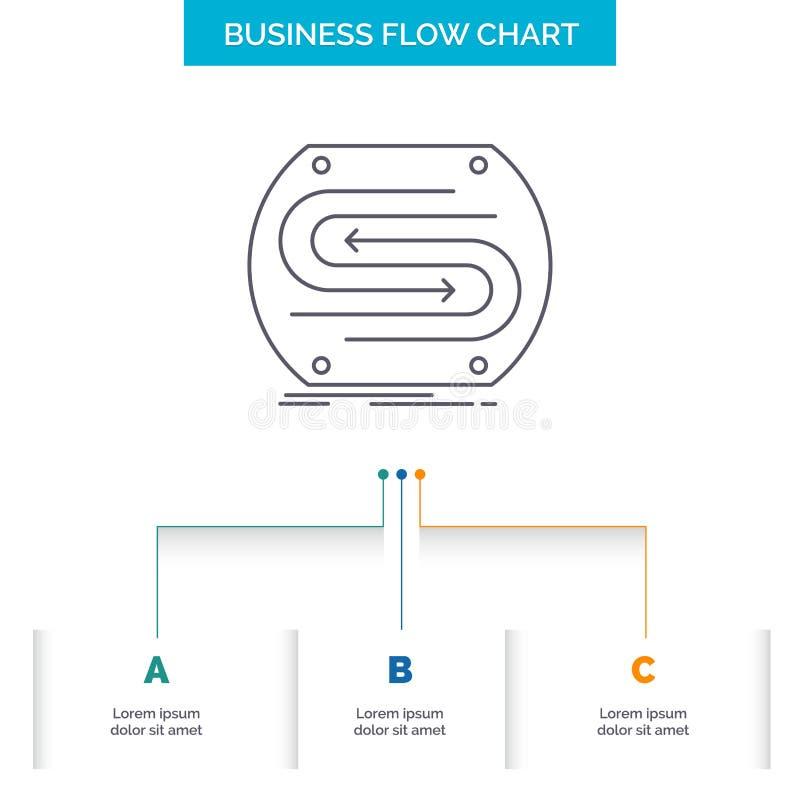 企业箭头,概念,汇合,比赛,沥青企业与3步的流程图设计 r 库存例证