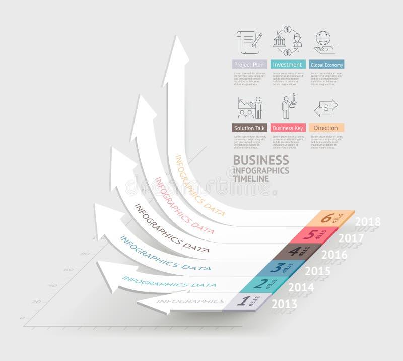 企业箭头infographics模板 能为工作流使用 皇族释放例证