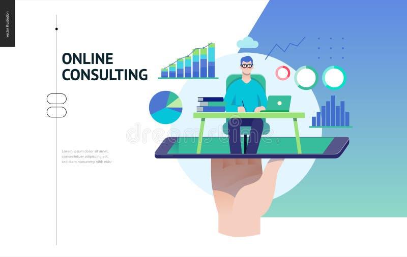 企业系列-专家的网上咨询的网模板 库存例证