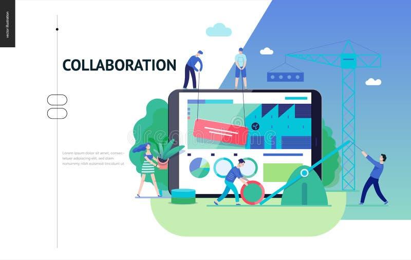企业系列-配合和合作网模板 库存例证