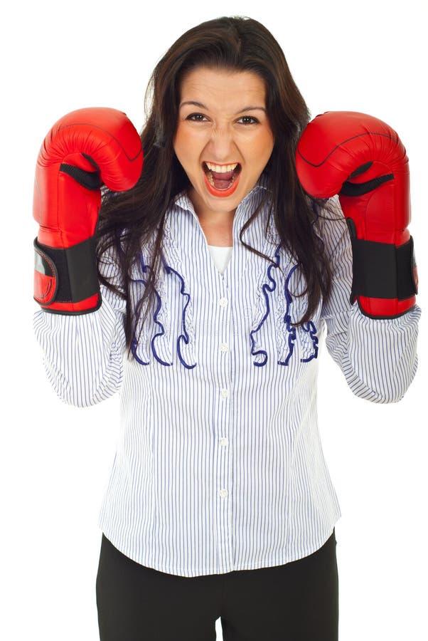 企业紧张的呼喊的妇女 图库摄影