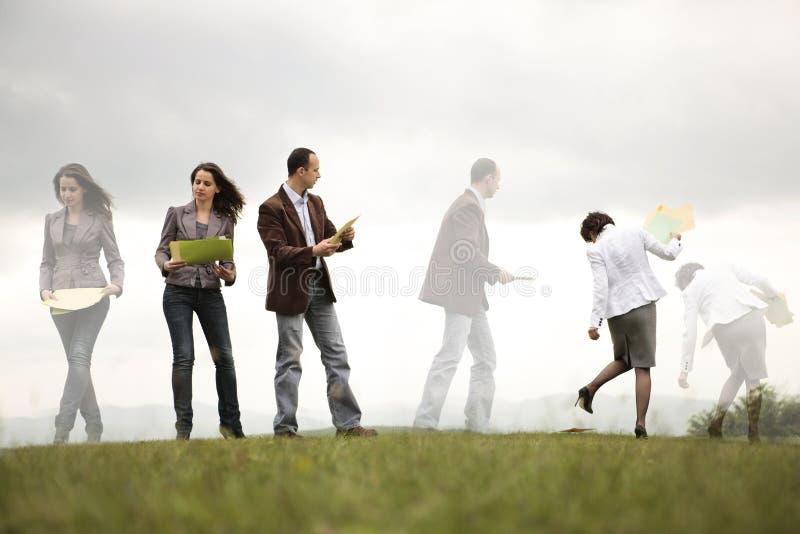 企业繁忙的户外人员 库存照片