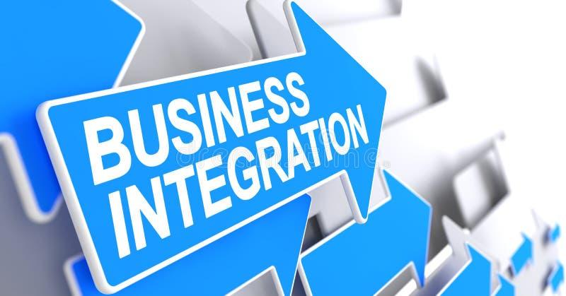 企业综合化-在蓝色游标的题字 3d 向量例证
