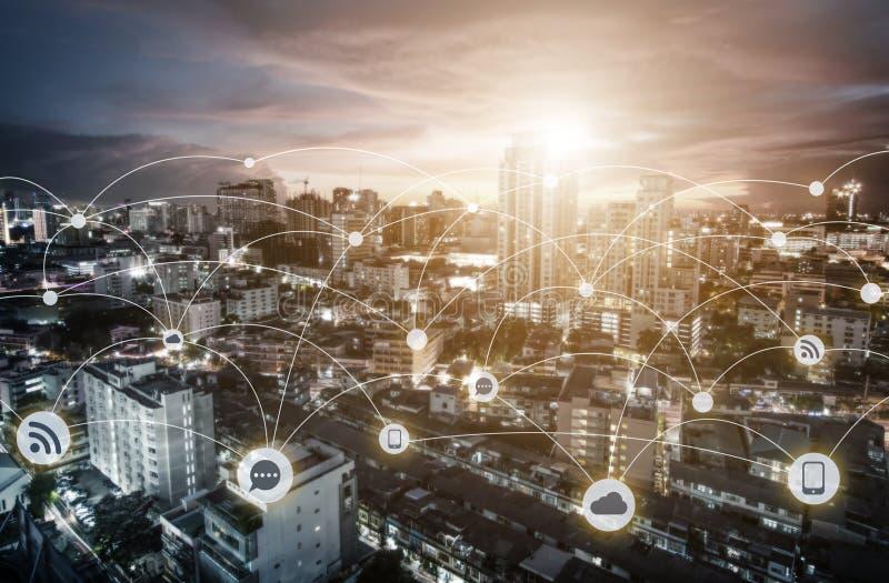 企业网络连接概念 皇族释放例证