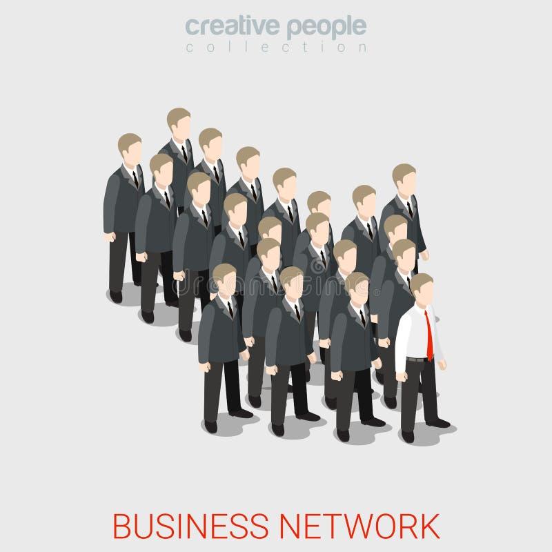 企业网络HR领导isometry箭头的队平的3d 库存例证