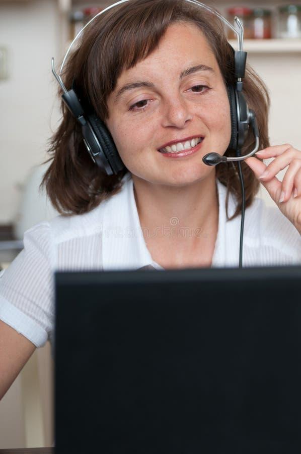 企业耳机妇女 库存照片