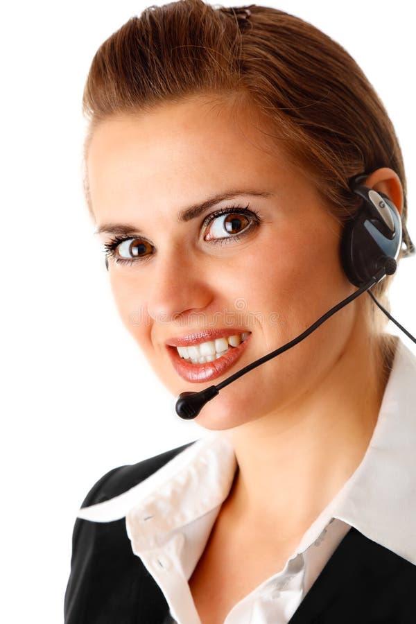 企业耳机现代微笑的妇女 图库摄影