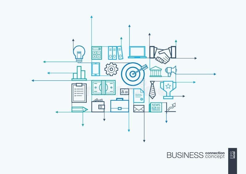 企业联合稀薄的线标志 库存例证